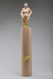 """hope shines more than gold"", alderwood, gold leaves, 72cm, 2011"