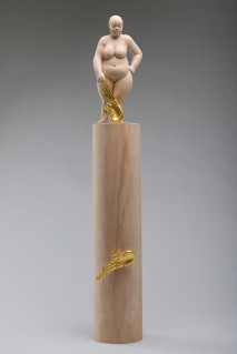 """hope shines more than gold"", alderwood, gold leaves, 72cm, 2011"