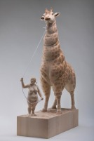 """my favorite pet"", limewood, acrilic colors, 70cm, 2010"