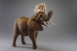 """dancing down an elephant"", limewood, acrilic colors, 72cm, 2012"