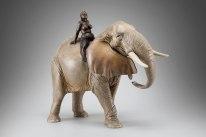 """""""Elephant ride"""" - bronze, oil colors - 29 x 35 cm - 2015"""
