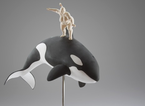 """hot wale surfing"", limewood, acrilic colors, 65cm, 2012"