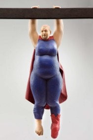 """supergirl"" (hanging), nutwood, acrilic colors, 34cm, 2007"