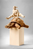 """the rabbit and the turtle"", limewood, acrilic colors, 64cm, 2011"