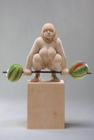 """lifting 4 watermelons"", limewood, acrilic colors, 42cm, 2011"