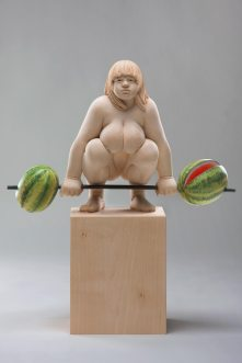"""lifting 4 watermelons"", limewood, acrilic colors, 42cm, 2011"