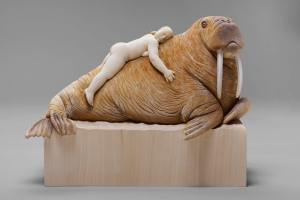 """stuffed animal"", limewood, acrilic colors, 50cm, 2011"