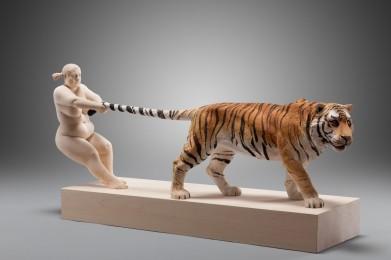 """Tug of war"" / 68 x 33 cm / Lindenwood, acrylic colors / 2014"
