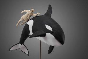 """""""Whale escort"""", limewood, acrilic colors, 65cm, 2012"""