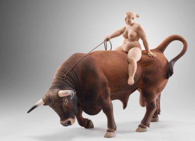 """the cowgirl"" / 45x32 cm / appletreewood, acrrilic colors / 2014"