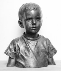 """Daniel"" portrait in bronze, lifesize, silver patina"