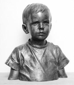 """Daniel"" portrait in bronze, lifesize, silver patina"